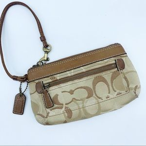Coach Cream Tan Brown Wallet Wristlet